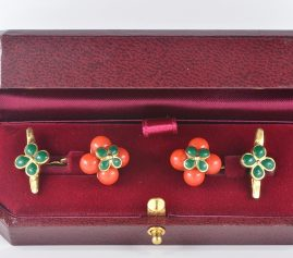 VICTORIAN CORAL AND GREEN ENAMELS RARE GENTS CUFF LINKS!