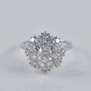 FANTASTIC 2.95 CT DIAMOND RETRO DAISY RING!