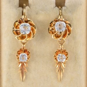 GLORIOUS EARLY VICTORIAN NIGHT & DAY ROCK CRYSTAL DROP EARRINGS 1840 CA!