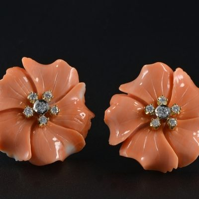 SPECTACULAR GENUINE SALMON CORAL FLOWER DIAMONDS 1960 CA!