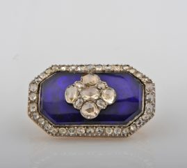 GEORGIAN RARE 4.0 CT ROSE CUT DIAMOND BRISTOL GLASS BROOCH!