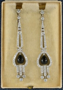 ART DECO BLACK ONYX & 3.50 CT DIAMOND CHARMING DROP EARRINGS!
