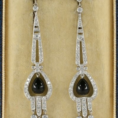 ART DECO BLACK ONYX & 3.50 CT DIAMOND CHARMING DROP EARRINGS!