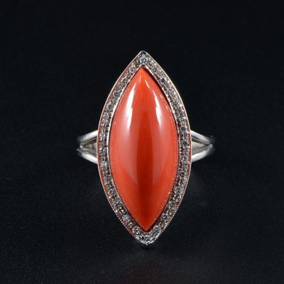VINTAGE NATURAL SARDINIA RED CORAL & DIAMOND MARQUEE RING!