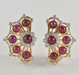 MAGNIFICENT RUBY & DIAMOND RETRO FAN EARRINGS 1945 CA!
