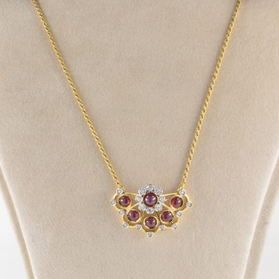 EXCLUSIVE RETRO 3.0 CT NATURAL RUBY .75 CT DIAMOND NECKLACE!