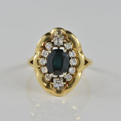 FABULOUS 1945 RETRO NATURAL SAPPHIRE DIAMOND RING!