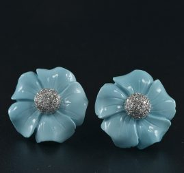 NATURAL NOT TREATED TURQUOISE & DIAMOND VINTAGE FLOWER EARRINGS!