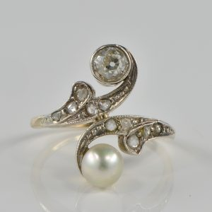 EDWARDIAN DIAMOND NATURAL PEARL TOI ET MOI ENGAGMENT RING