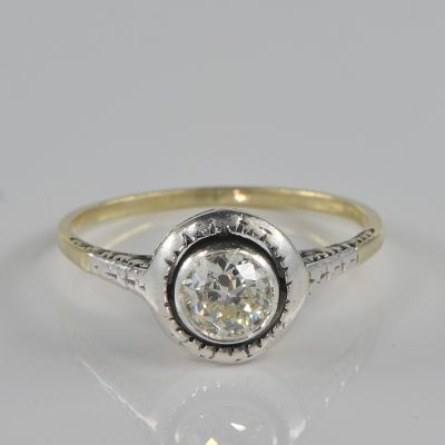 AUTHENTIC VICTORIAN .60 CT DIAMOND RARE TARGET RING 1890 CA!