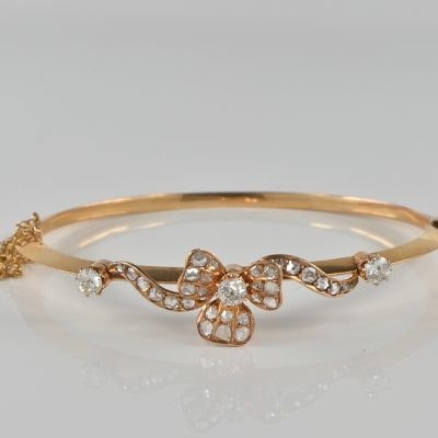 MAGNIFICENT VICTORIAN  2.40 CT DIAMOND RARE SHAMROCK BANGLE 1870 CA!