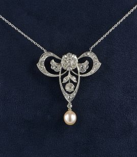 RARE BELLE EPOQUE 3.80 CT DIAMOND NATURAL PEARL PLATINUM LAVALIERE!