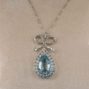 AUTHENTIC EDWARDIAN 16.4 CT AQUAMARINE 2.10 CT DIAMOND RARE NECKLACE!
