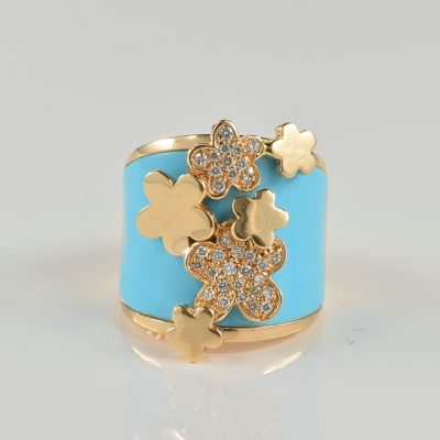 Magnificent Carved Turquoise Diamond Italian Design Ring