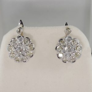 AUTHENTIC ART DECO 4.0 CT OLD CUT DIAMOND RARE CLUSTER EARRINGS!