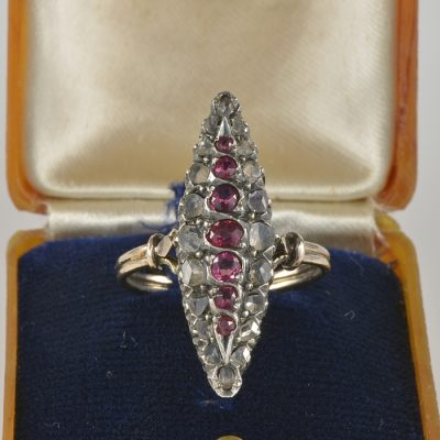 AUTHENTIC VICTORIAN RUBY DIAMOND NAVETTE RING 1890 CA!