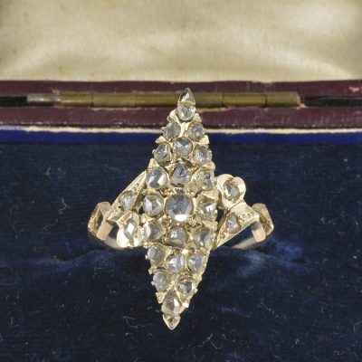VICTORIAN GORGEOUS ROSE CUT MARQUEE SHAPED RING SIZE 9 ½!