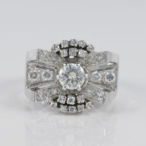 MAGNIFICENT 1.45 CT DIAMOND ART DECO BOW RING!