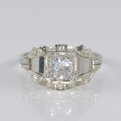 STUNNING ART DECO .65 CT DIAMOND SOLITAIRE RING G VS QUALITY!