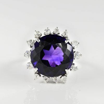 ROYAL PURPLE ANTIQUE 18.70 CT. NATURAL AMETHYST DIAMOND COCKTAIL RING!