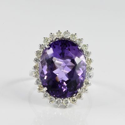 SPECTACULAR 13.30 NATURAL AMETHYST DIAMOND VINTAGE RING!