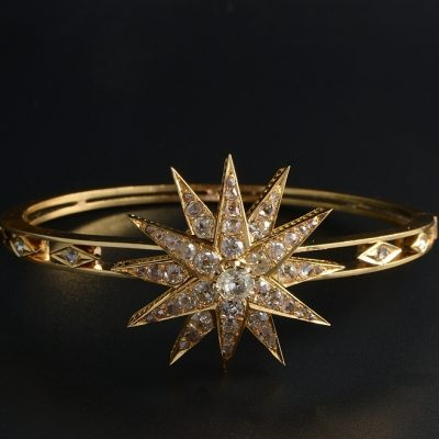 CELESTIAL VICTORIAN 4.25 CT G VVS/VS DIAMOND VICTORIAN BANGLE 1860 ca!