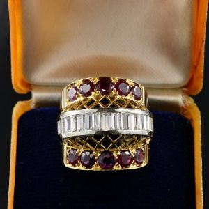 STRIKING RETRO 1.80 CT DIAMOND 2.50 CT RUBY RARE RING!