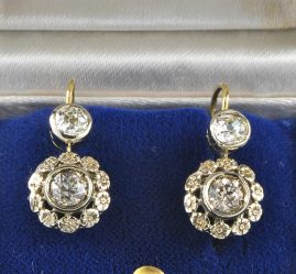 GORGEOUS EDWARDIAN 1.20 CT DIAMOND DROP EARRINGS 1900 ca !