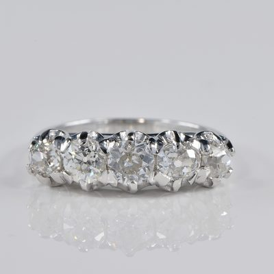 ART DECO FABULOUS QUINTET OF 1.60 CT. DIAMOND RING!