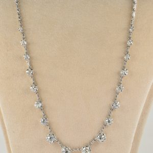 LATE ART DECO 6.20 CT OLD MINE CUT DIAMOND STUNNING RIVIERE NECKLACE!
