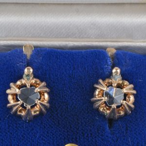 AUTHENTIC VICTORIAN .50 CT DIAMOND SOLITAIRE EARRINGS 1880 CA!