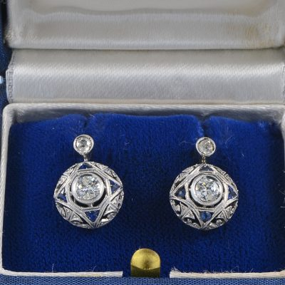 EDWARDIAN DIAMOND SAPPHIRE RARE ANTIQUE EAR STUDS!