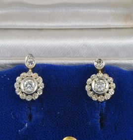 AUTHENTIC EDWARDIAN DIAMOND FLORET PETIT EARRINGS