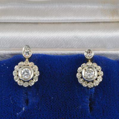 AUTHENTIC EDWARDIAN DIAMOND FLORET PETIT EARRINGS