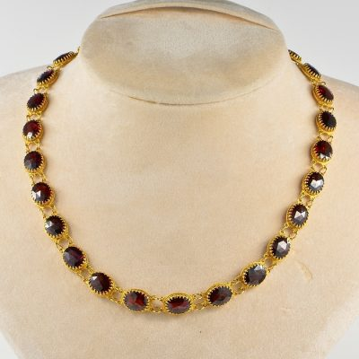 AUTHENTIC GEORGIAN REGENCY 57.0 CT RED GARNET RIVIERE NECKLACE!