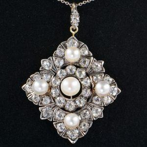 SPECTACULAR 6.80 CT DIAMOND NATURAL PEARL AUTHENTIC VICTORIAN PENDANT 1880!