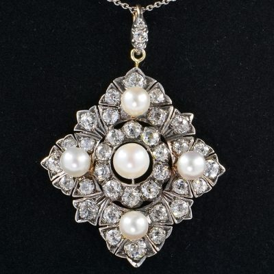 SPECTACULAR 6.80 CT DIAMOND NATURAL PEARL AUTHENTIC VICTORIAN PENDANT 1880!