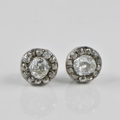 VICTORIAN 2.70 CT G VS DIAMOND RARE STUDS EARRINGS!