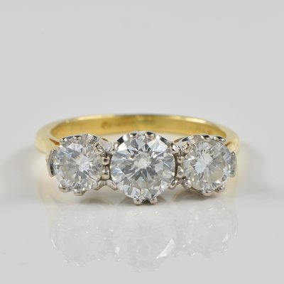 AUTHENTIC ART DECO 1.30 CT DIAMOND TRILOGY RING!