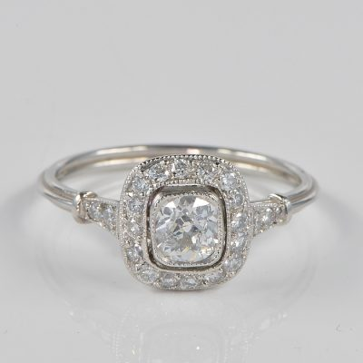 ART DECO STUNNING ART DECO 1.05 Ct DIAMOND TARGET PLATINUM RING!