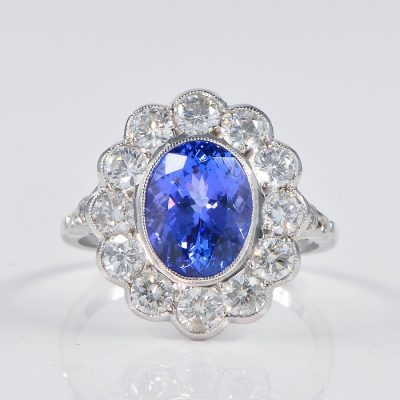 SPECTACULAR 3,60 CT TANZANITE 2.50 CT G VVS/VS DIAMOND VINTAGE RING!