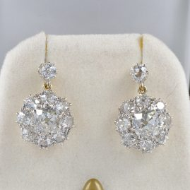 BELLE EPOQUE 8.0 CT OLD CUT DIAMOND RARE ANTIQUE CLUSTER EARRING!