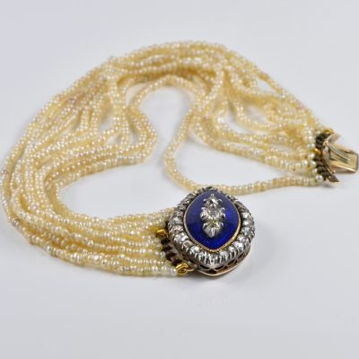 PAIR OF GEORGIAN BRACELET CHOKER NATURAL PEARL DIAMOND ROYAL ENAMEL 1800 CA!