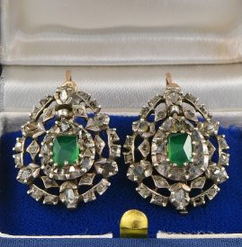 GEORGIAN DIAMOND AND EMERALD RARE 1760 EARRINGS