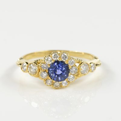 VICTORIAN .70 CT NATURAL SAPPHIRE .85 CT DIAMOND DISTINCTIVE RING!