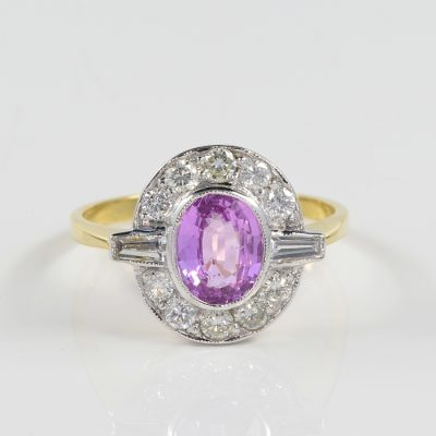 ART DECO 1.50 CT NATURAL CEYLON PINK SAPPHIRE 1.0 CT DIAMOND RING!