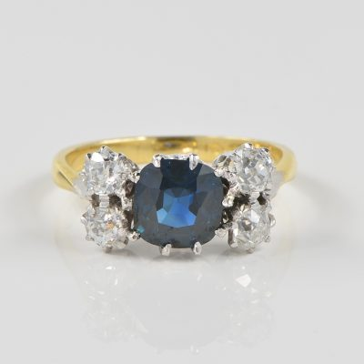 ART DECO 2.15 CT NO HEAT SAPPHIRE 1.0 CT OLD MINE DIAMOND FIVE STONE RING!