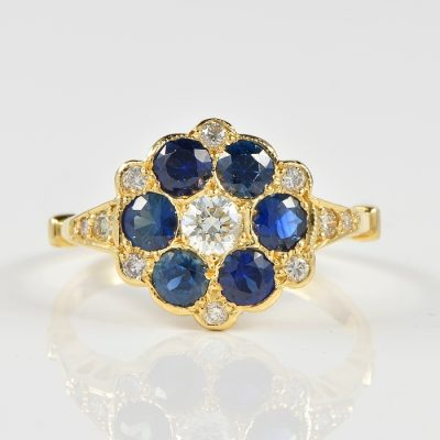 VICTORIAN DELIGHTFUL 1.20 CT BURMESE SAPPHIRE .40 CT DIAMOND RING!