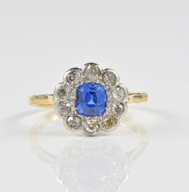 DELIGHTFUL EDWARDIAN NATURAL NO HEAT 1.25 CT CEYLON SAPPHIRE 1.0 CT DIAMOND RING!
