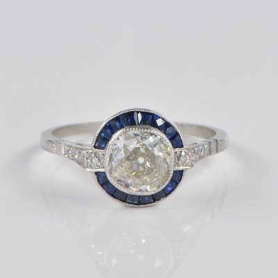 EXQUISTE  ART DECO 1.10 CT DIAMOND PLUS PLATINUM TARGET RING!